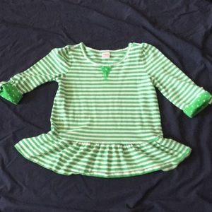 Gymboree Green and white quarter length sleeve top
